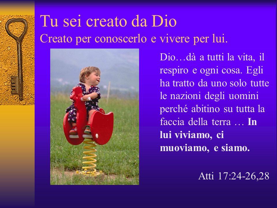Tu sei creato da Dio Creato per conoscerlo e vivere per lui.