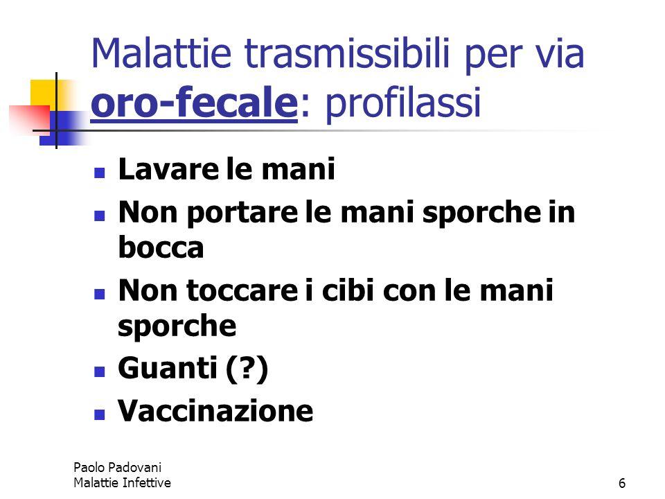 Malattie trasmissibili per via oro-fecale: profilassi