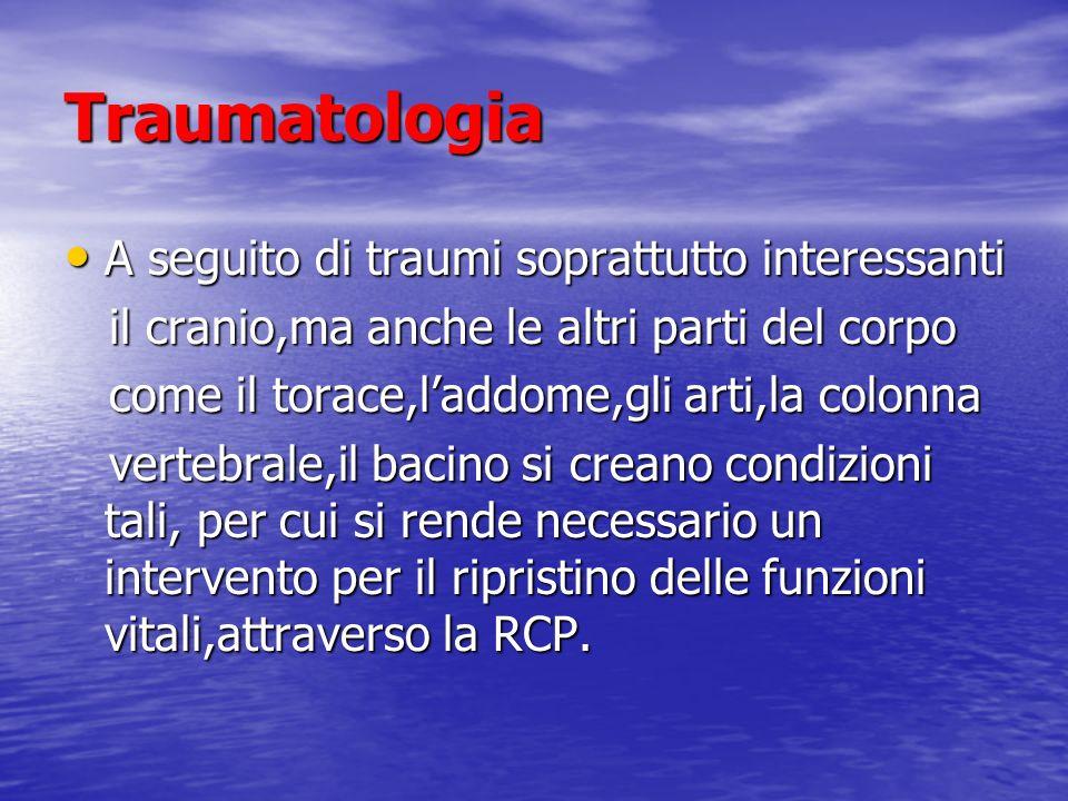 Traumatologia A seguito di traumi soprattutto interessanti