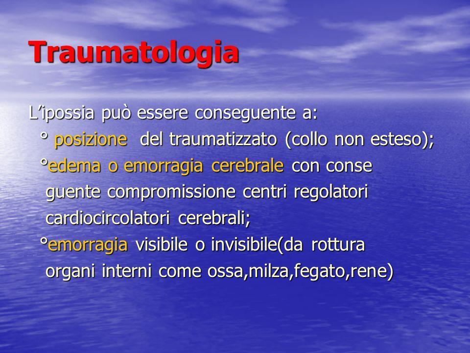 Traumatologia L'ipossia può essere conseguente a: