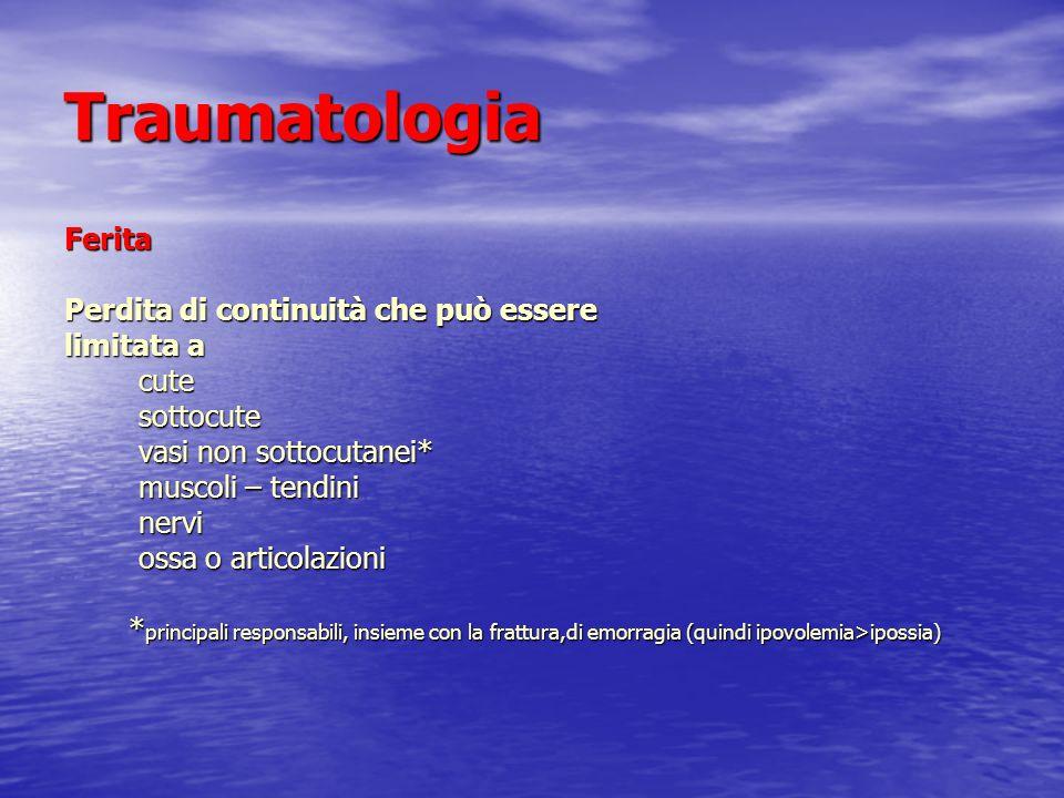 Traumatologia Ferita Perdita di continuità che può essere limitata a