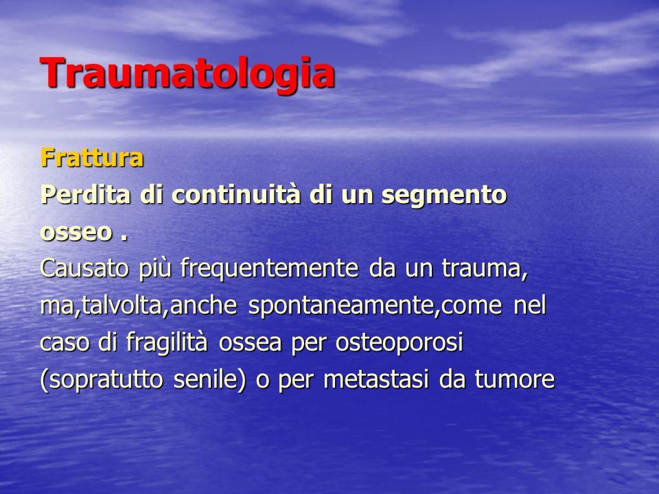 Traumatologia Frattura Perdita di continuità di un segmento osseo .