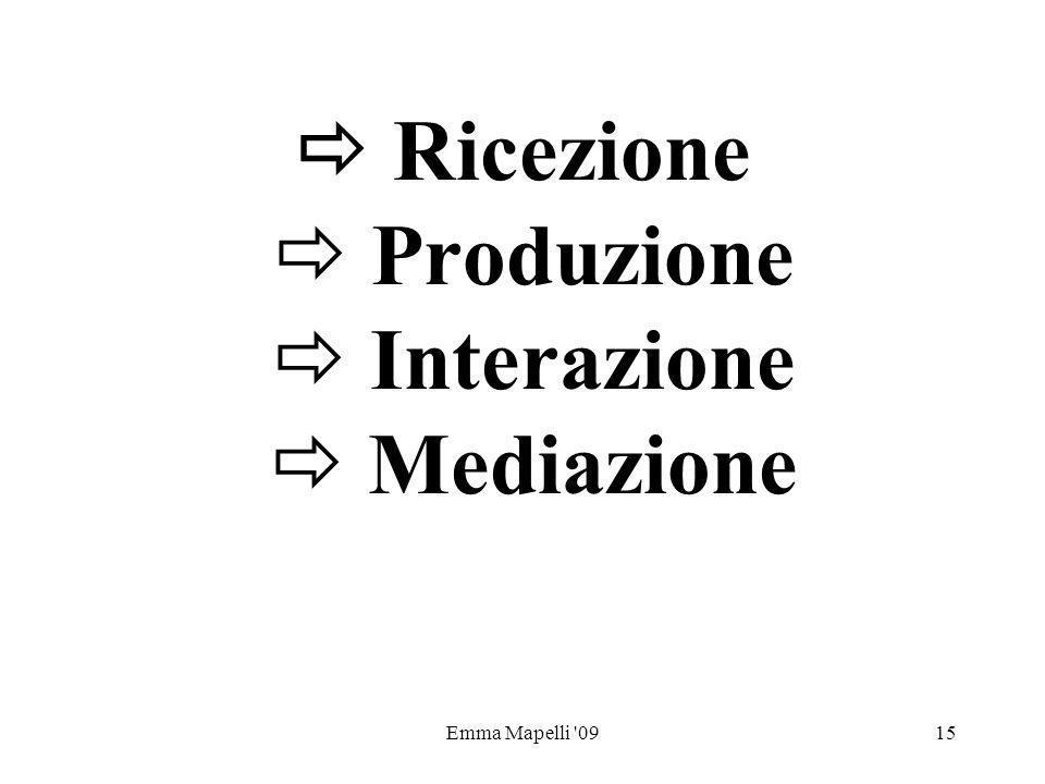  Ricezione  Produzione  Interazione  Mediazione