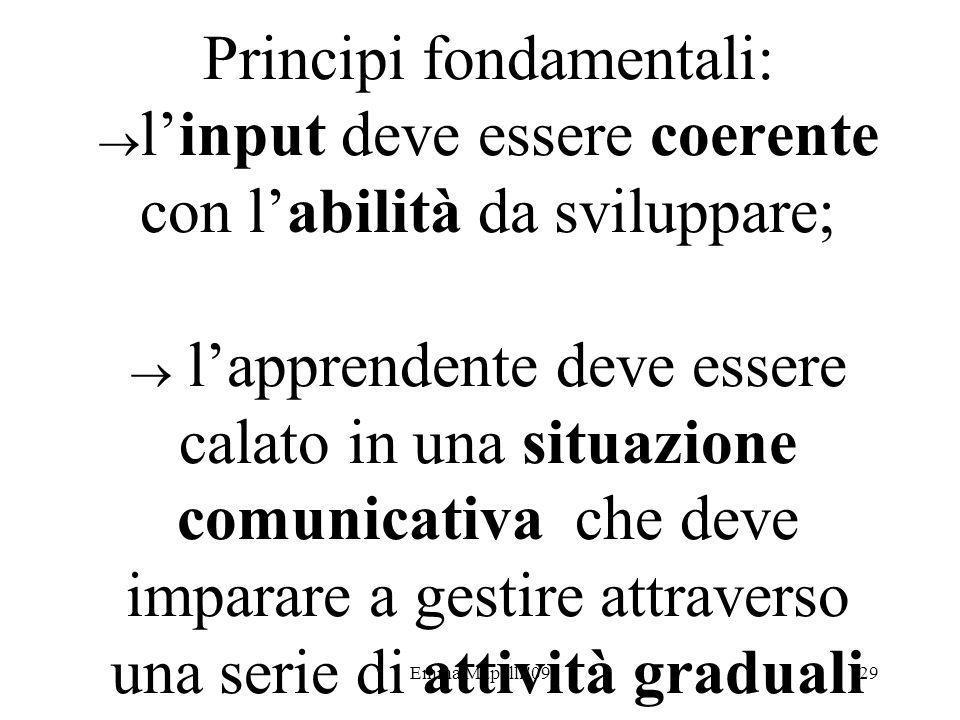 Principi fondamentali: l'input deve essere coerente con l'abilità da sviluppare;  l'apprendente deve essere calato in una situazione comunicativa che deve imparare a gestire attraverso una serie di attività graduali