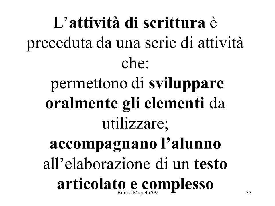 L'attività di scrittura è preceduta da una serie di attività che: permettono di sviluppare oralmente gli elementi da utilizzare; accompagnano l'alunno all'elaborazione di un testo articolato e complesso
