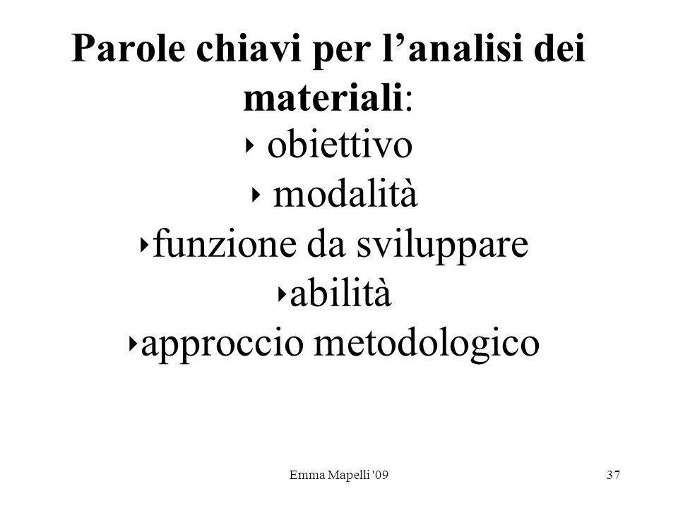 Parole chiavi per l'analisi dei materiali: ‣ obiettivo ‣ modalità ‣funzione da sviluppare ‣abilità ‣approccio metodologico