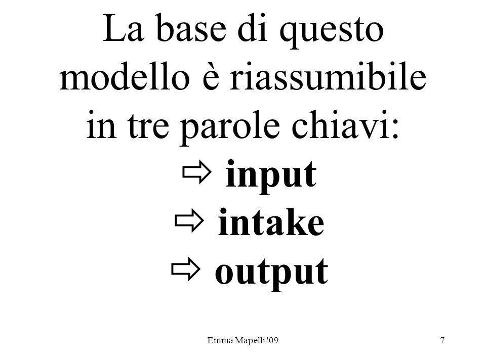 La base di questo modello è riassumibile in tre parole chiavi:  input  intake  output