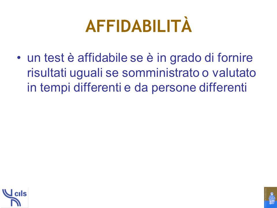 AFFIDABILITÀ un test è affidabile se è in grado di fornire risultati uguali se somministrato o valutato in tempi differenti e da persone differenti.