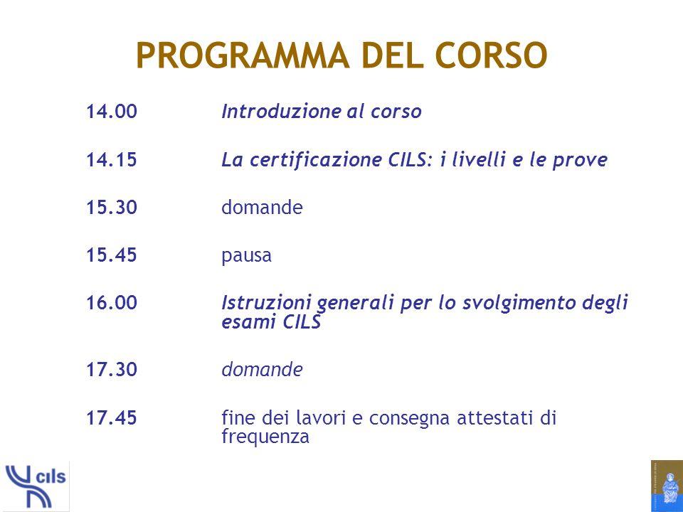 PROGRAMMA DEL CORSO 14.00 Introduzione al corso