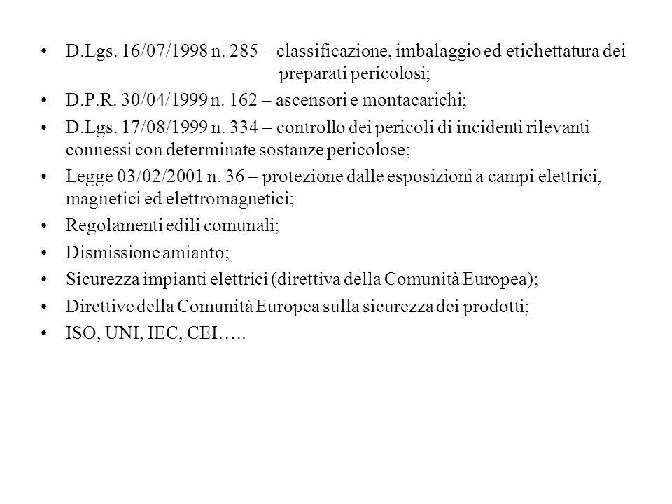 D.Lgs. 16/07/1998 n. 285 – classificazione, imbalaggio ed etichettatura dei preparati pericolosi;
