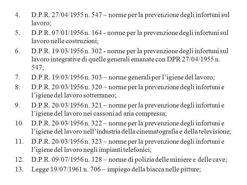 D.P.R. 27/04/1955 n. 547 – norme per la prevenzione degli infortuni sul lavoro;