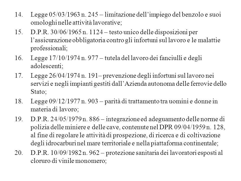 Legge 05/03/1963 n. 245 – limitazione dell'impiego del benzolo e suoi omologhi nelle attività lavorative;