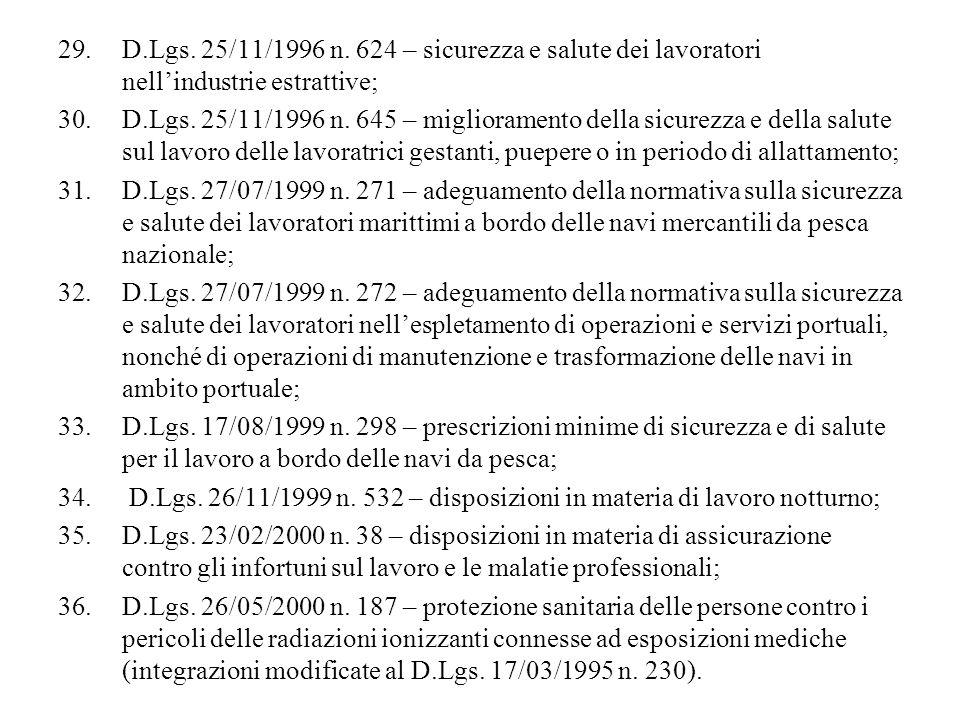 D.Lgs. 25/11/1996 n. 624 – sicurezza e salute dei lavoratori nell'industrie estrattive;