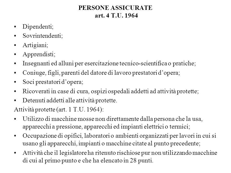 PERSONE ASSICURATE art. 4 T.U. 1964