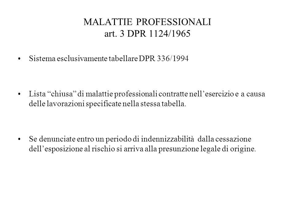 MALATTIE PROFESSIONALI art. 3 DPR 1124/1965