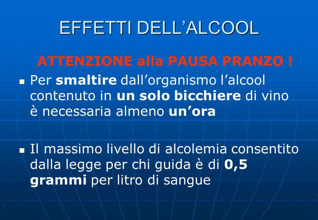EFFETTI DELL'ALCOOL ATTENZIONE alla PAUSA PRANZO !