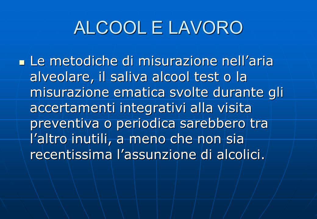 ALCOOL E LAVORO