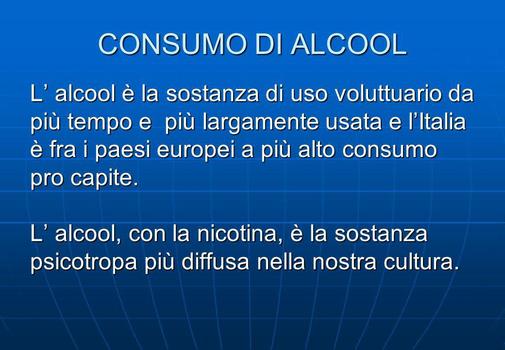 CONSUMO DI ALCOOL L' alcool è la sostanza di uso voluttuario da