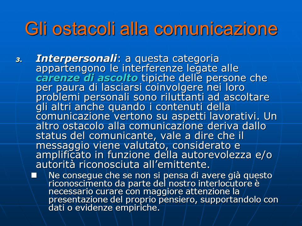 Gli ostacoli alla comunicazione