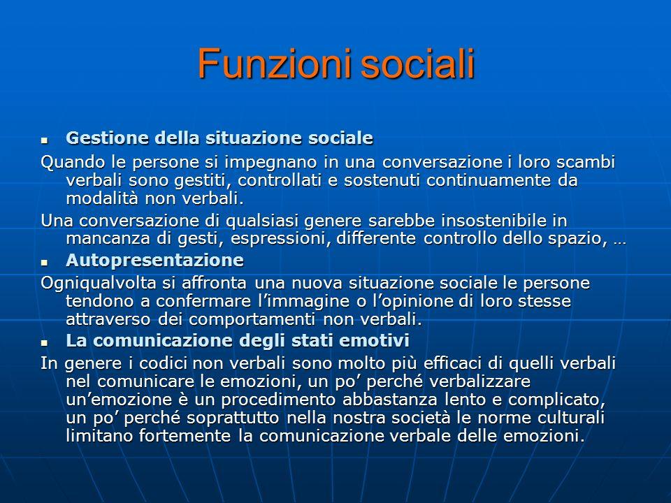 Funzioni sociali Gestione della situazione sociale