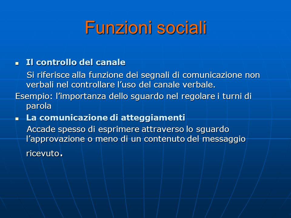 Funzioni sociali Il controllo del canale