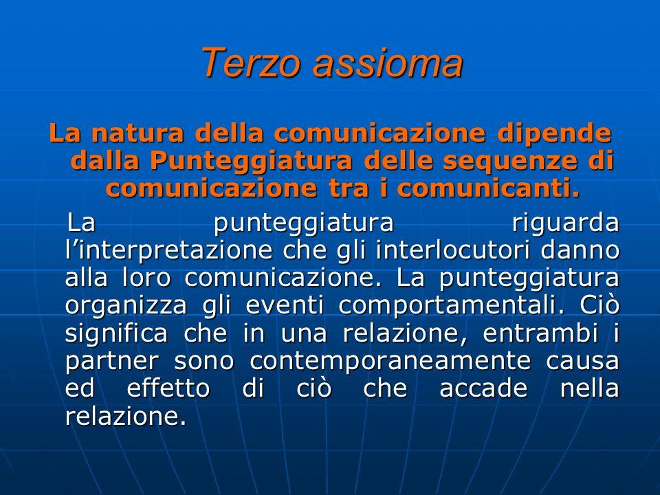 Terzo assiomaLa natura della comunicazione dipende dalla Punteggiatura delle sequenze di comunicazione tra i comunicanti.