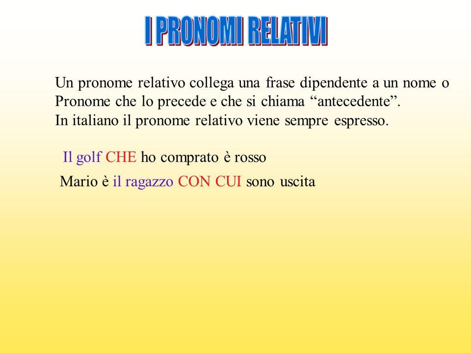 I PRONOMI RELATIVI Un pronome relativo collega una frase dipendente a un nome o. Pronome che lo precede e che si chiama antecedente .