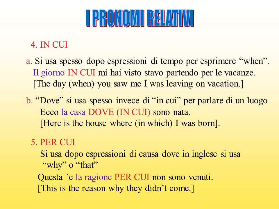 I PRONOMI RELATIVI 4. IN CUI