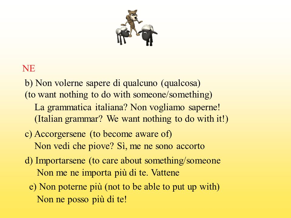 NE b) Non volerne sapere di qualcuno (qualcosa) (to want nothing to do with someone/something) La grammatica italiana Non vogliamo saperne!