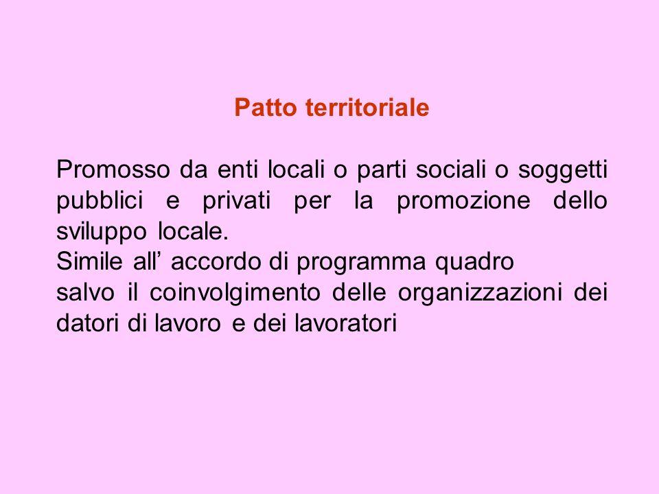 Patto territoriale Promosso da enti locali o parti sociali o soggetti pubblici e privati per la promozione dello sviluppo locale.