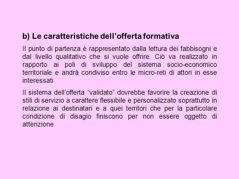 b) Le caratteristiche dell'offerta formativa