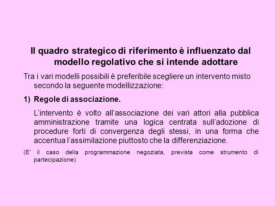 Il quadro strategico di riferimento è influenzato dal modello regolativo che si intende adottare