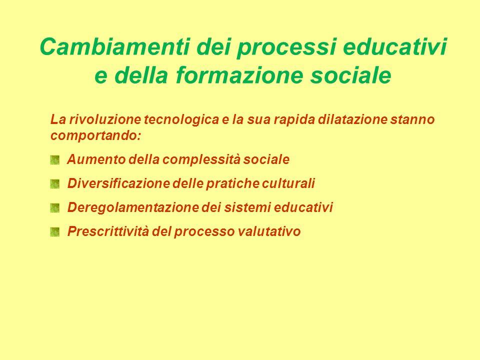 Cambiamenti dei processi educativi e della formazione sociale