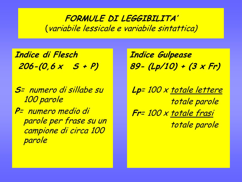 FORMULE DI LEGGIBILITA' (variabile lessicale e variabile sintattica)