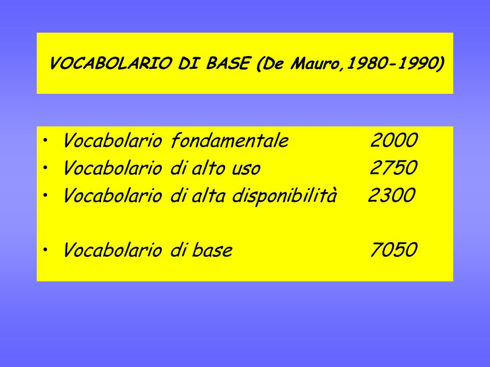 VOCABOLARIO DI BASE (De Mauro,1980-1990)