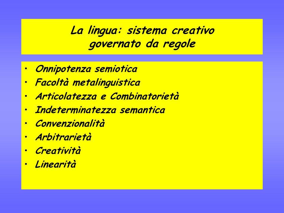 La lingua: sistema creativo governato da regole