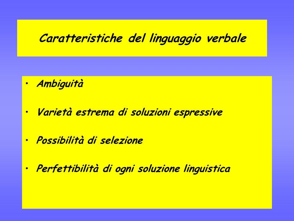 Caratteristiche del linguaggio verbale