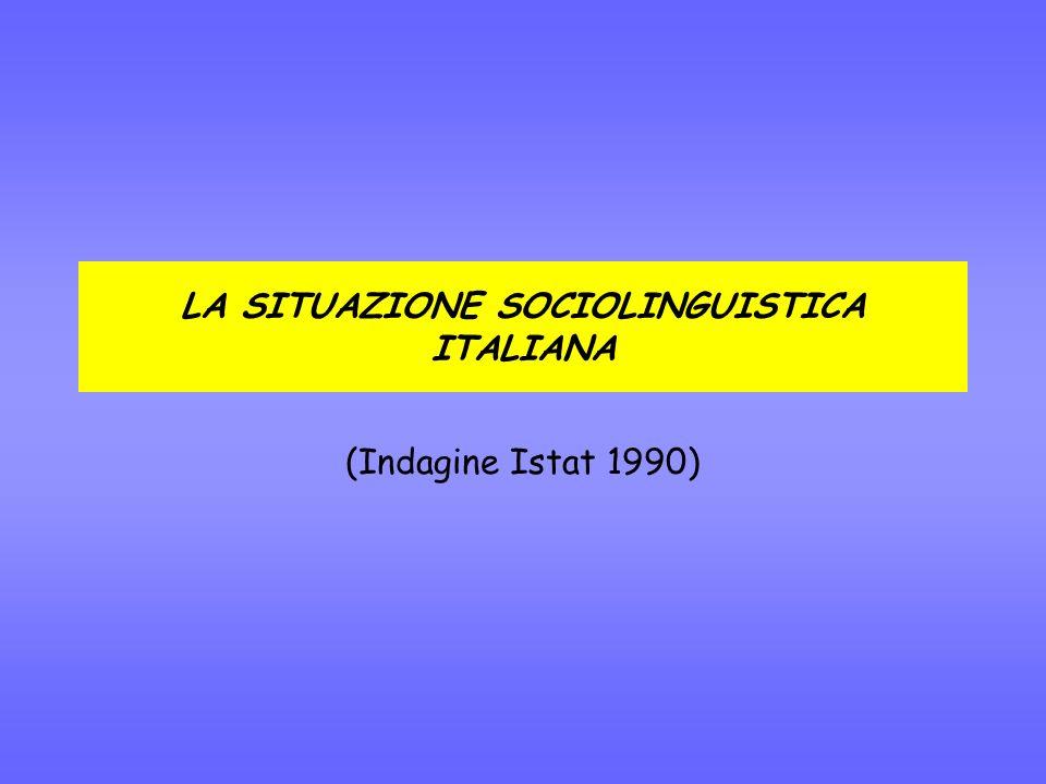 LA SITUAZIONE SOCIOLINGUISTICA ITALIANA