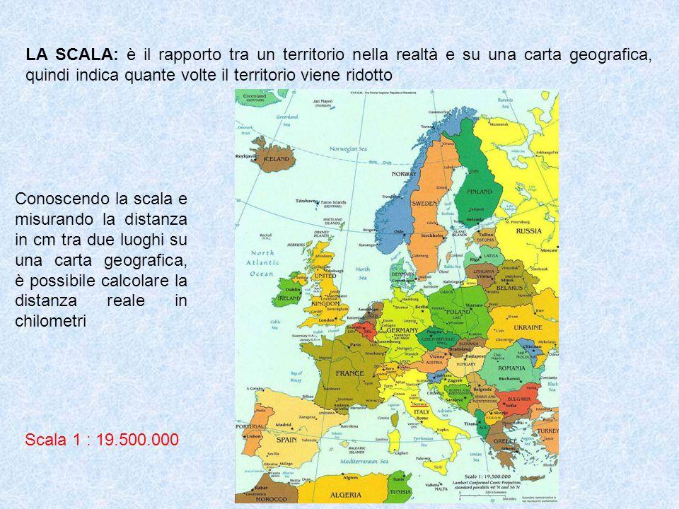 LA SCALA: è il rapporto tra un territorio nella realtà e su una carta geografica, quindi indica quante volte il territorio viene ridotto