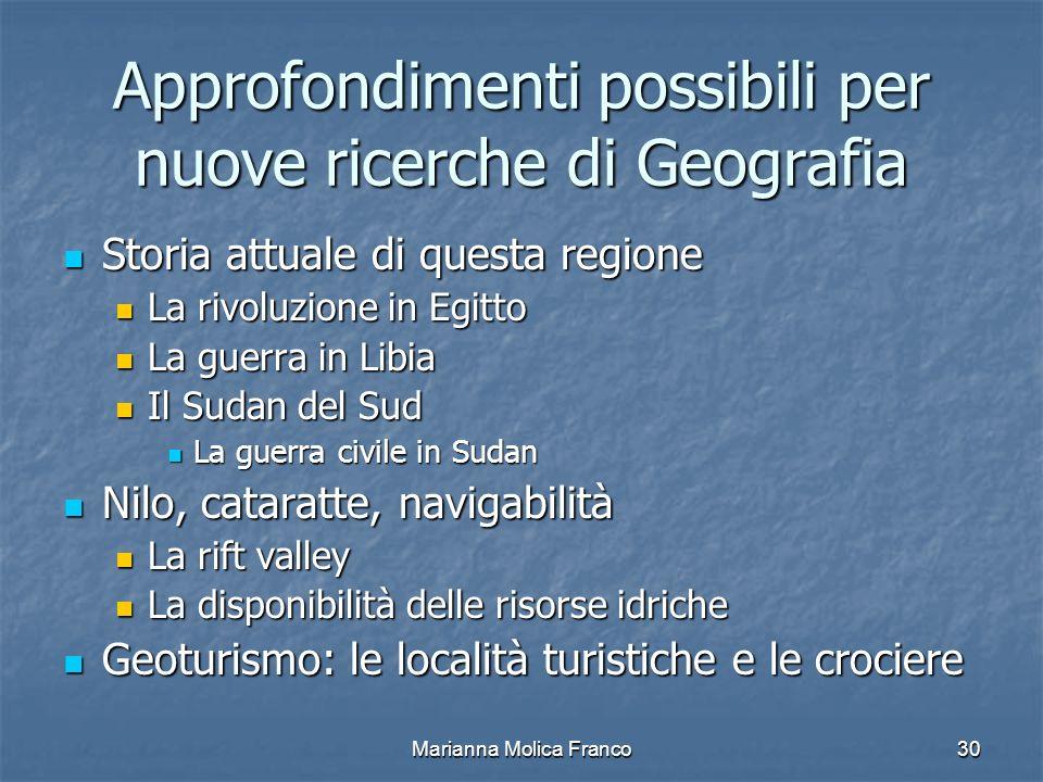Approfondimenti possibili per nuove ricerche di Geografia