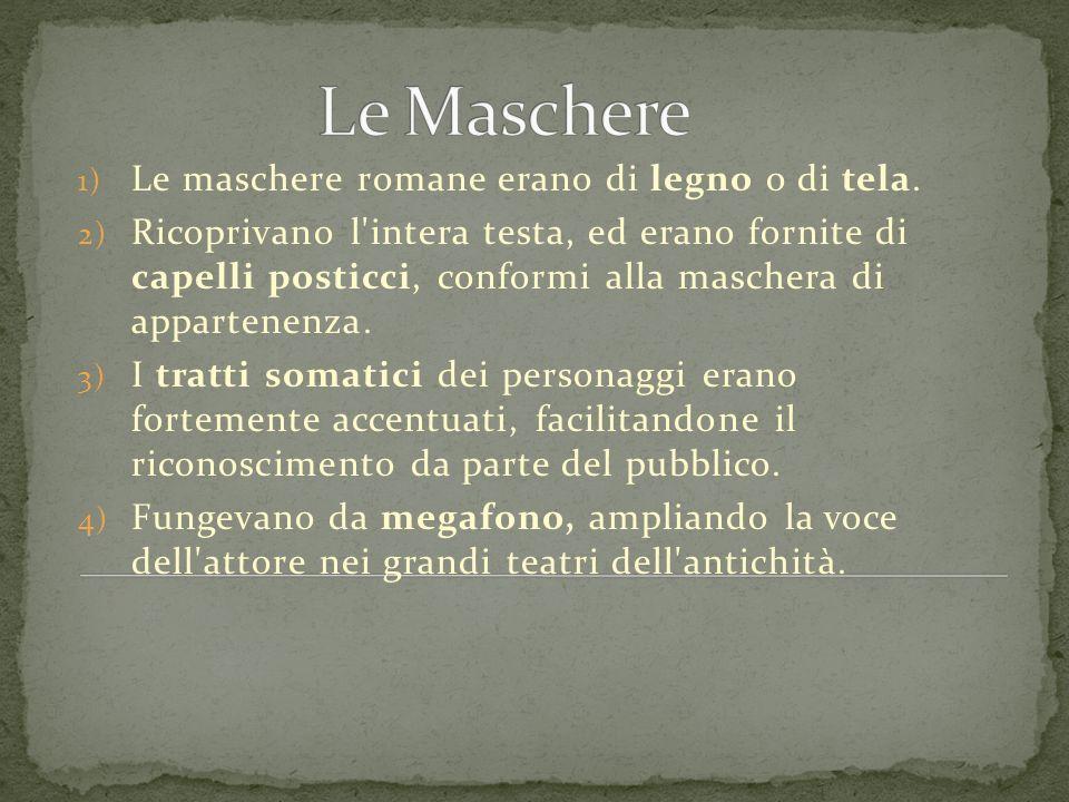 Le Maschere Le maschere romane erano di legno o di tela.