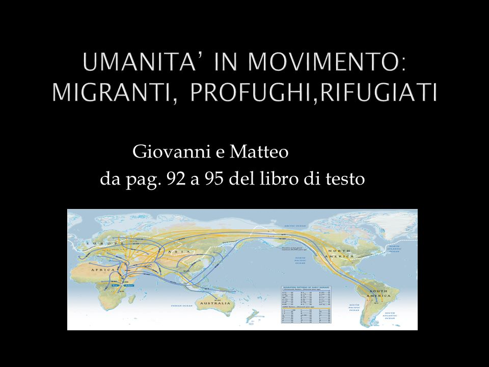 UMANITA' IN MOVIMENTO: MIGRANTI, PROFUGHI,RIFUGIATI
