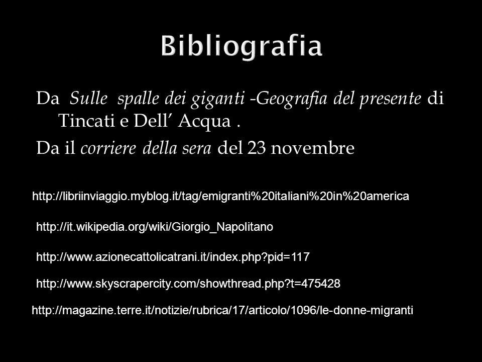 Bibliografia Da Sulle spalle dei giganti -Geografia del presente di Tincati e Dell' Acqua . Da il corriere della sera del 23 novembre.