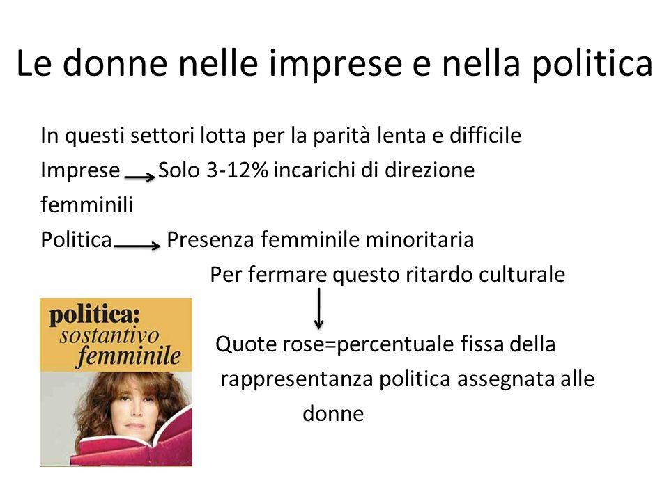 Le donne nelle imprese e nella politica