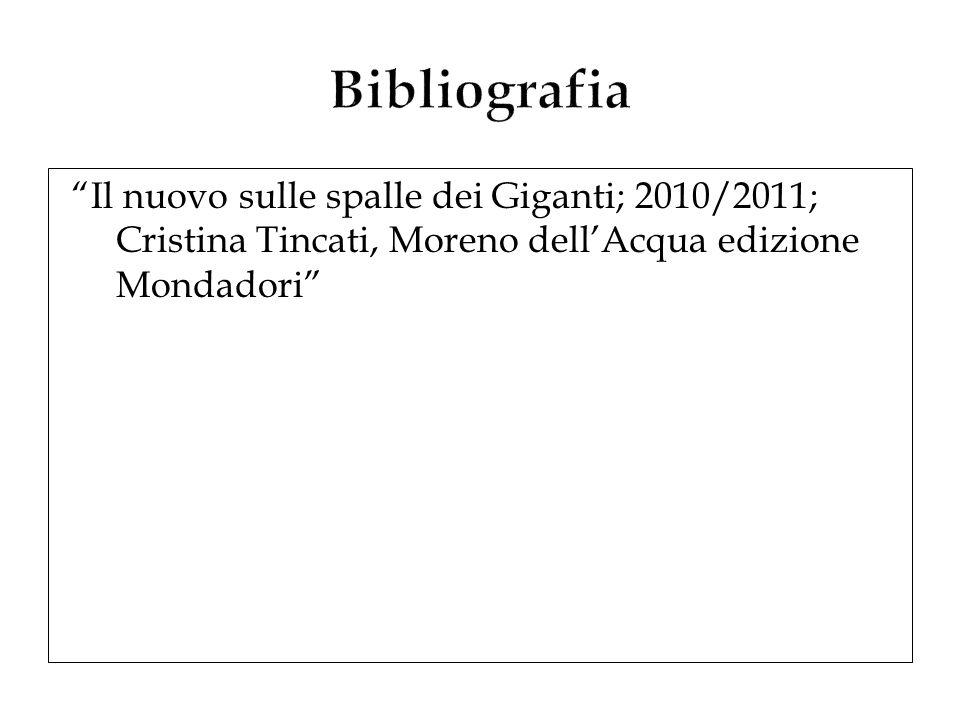 Bibliografia Il nuovo sulle spalle dei Giganti; 2010/2011; Cristina Tincati, Moreno dell'Acqua edizione Mondadori