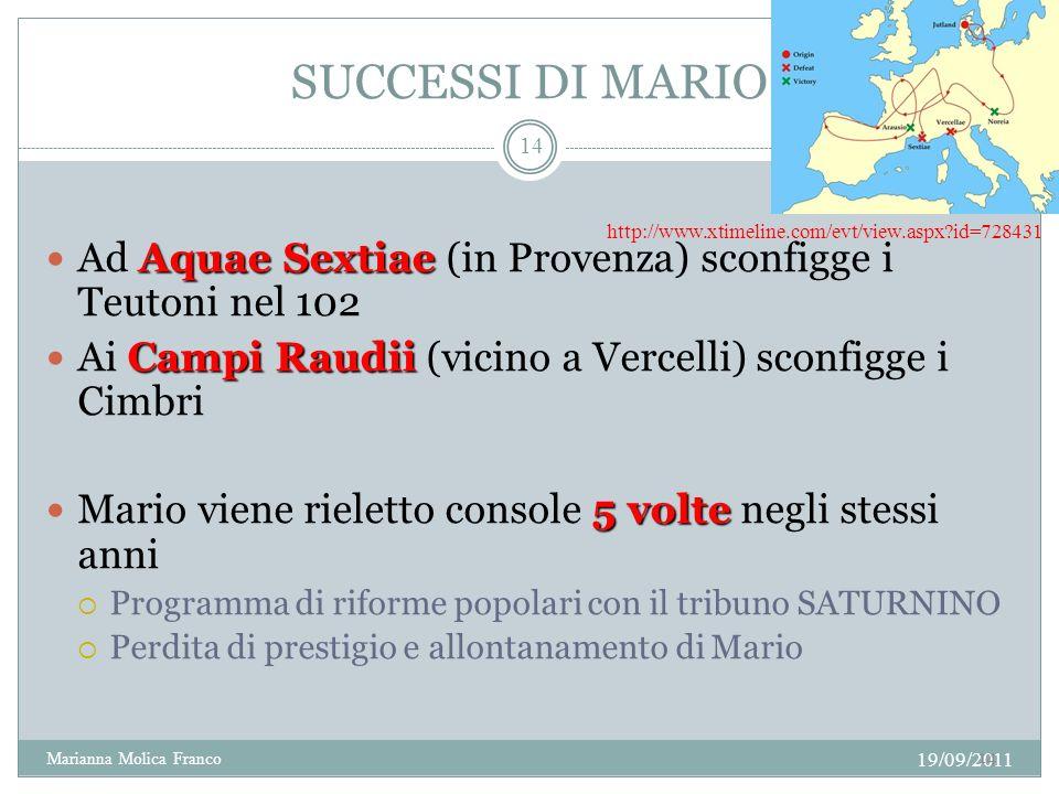 SUCCESSI DI MARIO Ad Aquae Sextiae (in Provenza) sconfigge i Teutoni nel 102. Ai Campi Raudii (vicino a Vercelli) sconfigge i Cimbri.