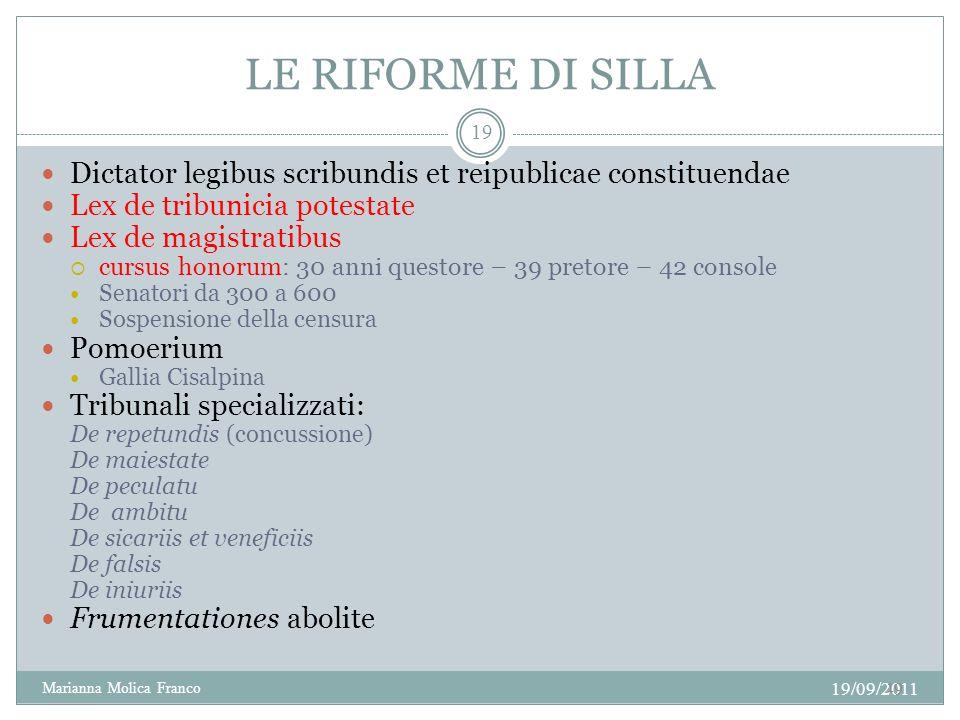 LE RIFORME DI SILLA Dictator legibus scribundis et reipublicae constituendae. Lex de tribunicia potestate.