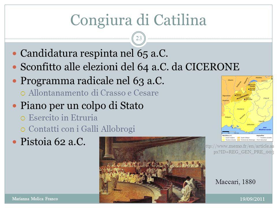 Congiura di Catilina Candidatura respinta nel 65 a.C.