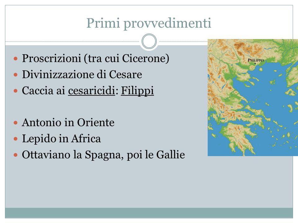 Primi provvedimenti Proscrizioni (tra cui Cicerone)
