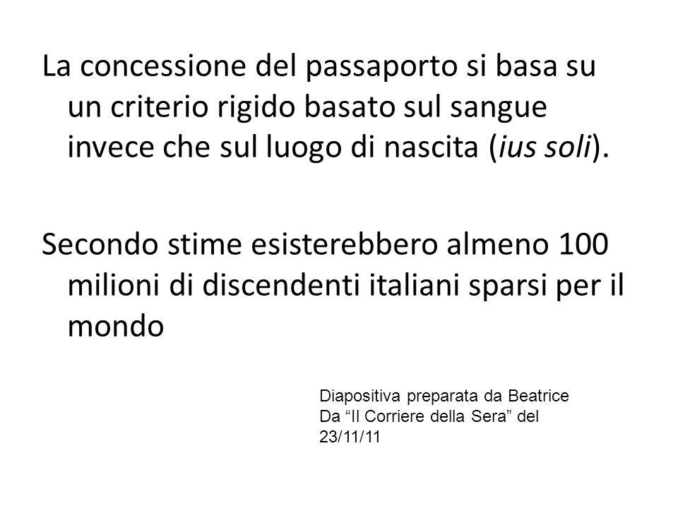 La concessione del passaporto si basa su un criterio rigido basato sul sangue invece che sul luogo di nascita (ius soli).